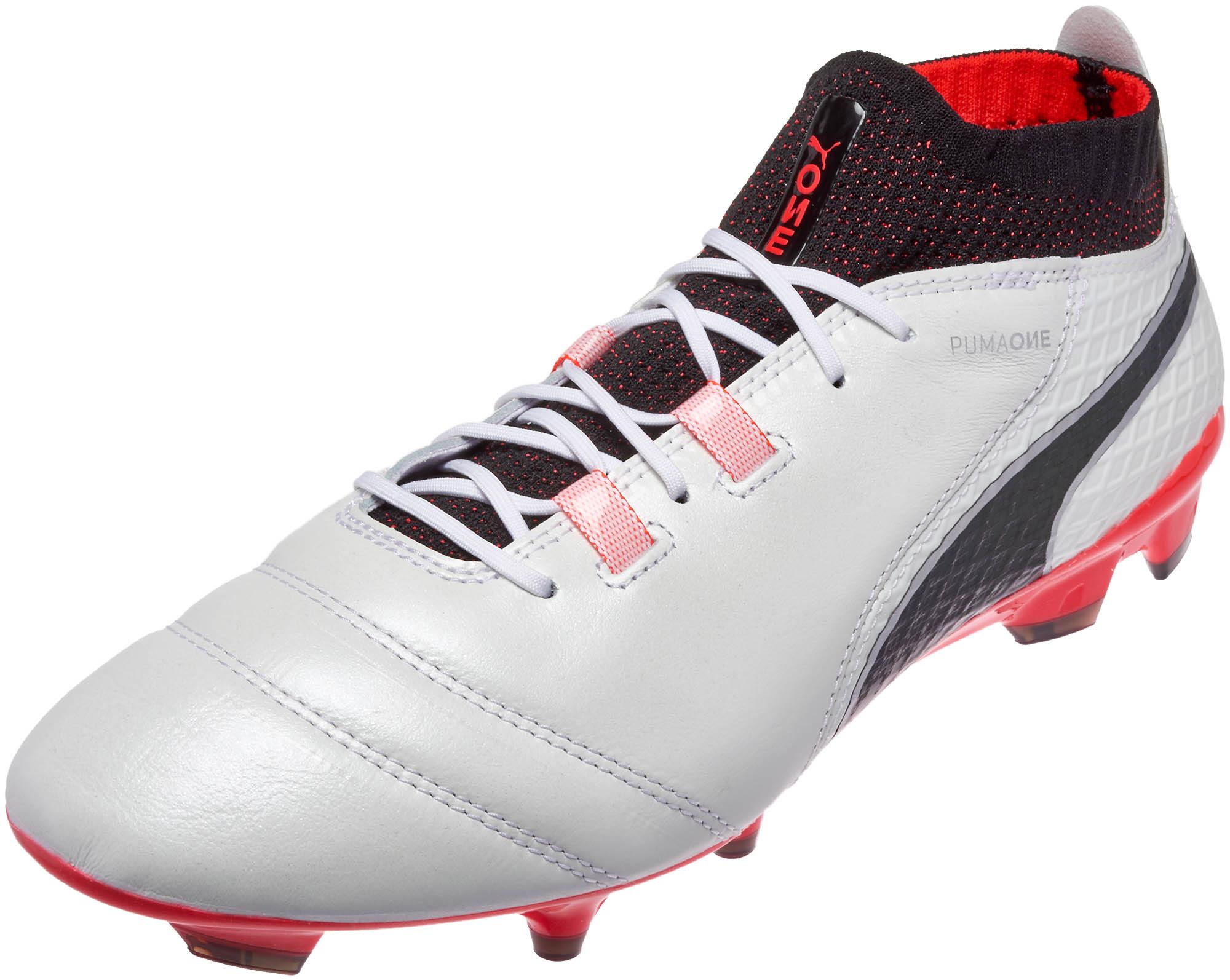competitive price e2780 4e227 Puma One 17.1 FG Soccer Cleats – White   Fiery Coral