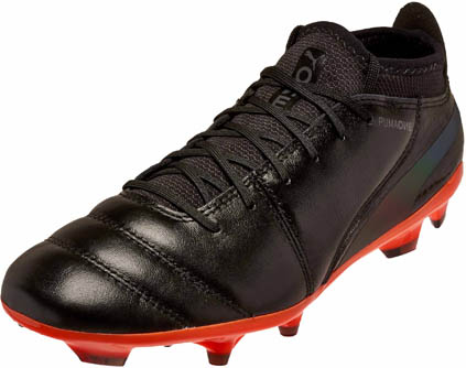 38fceff17 Puma One Lux 2 FG Soccer Cleats - Black & Shocking Orange - Soccer ...