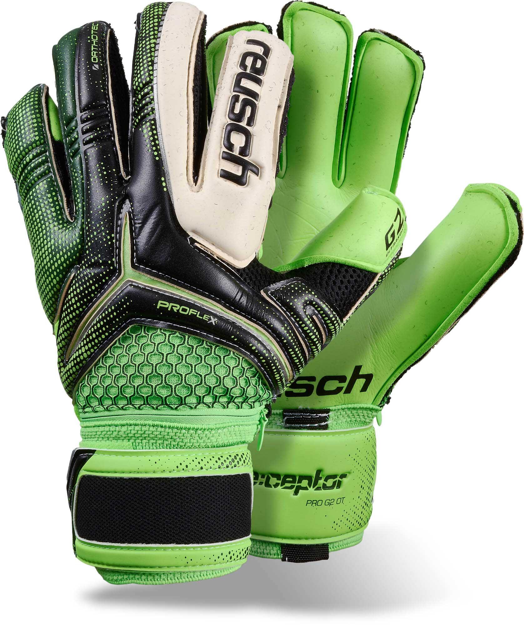 Reusch RE CEPTOR PRO G2 Ortho-Tec Goalkeeper Gloves – Black and Green 2d72c14d6