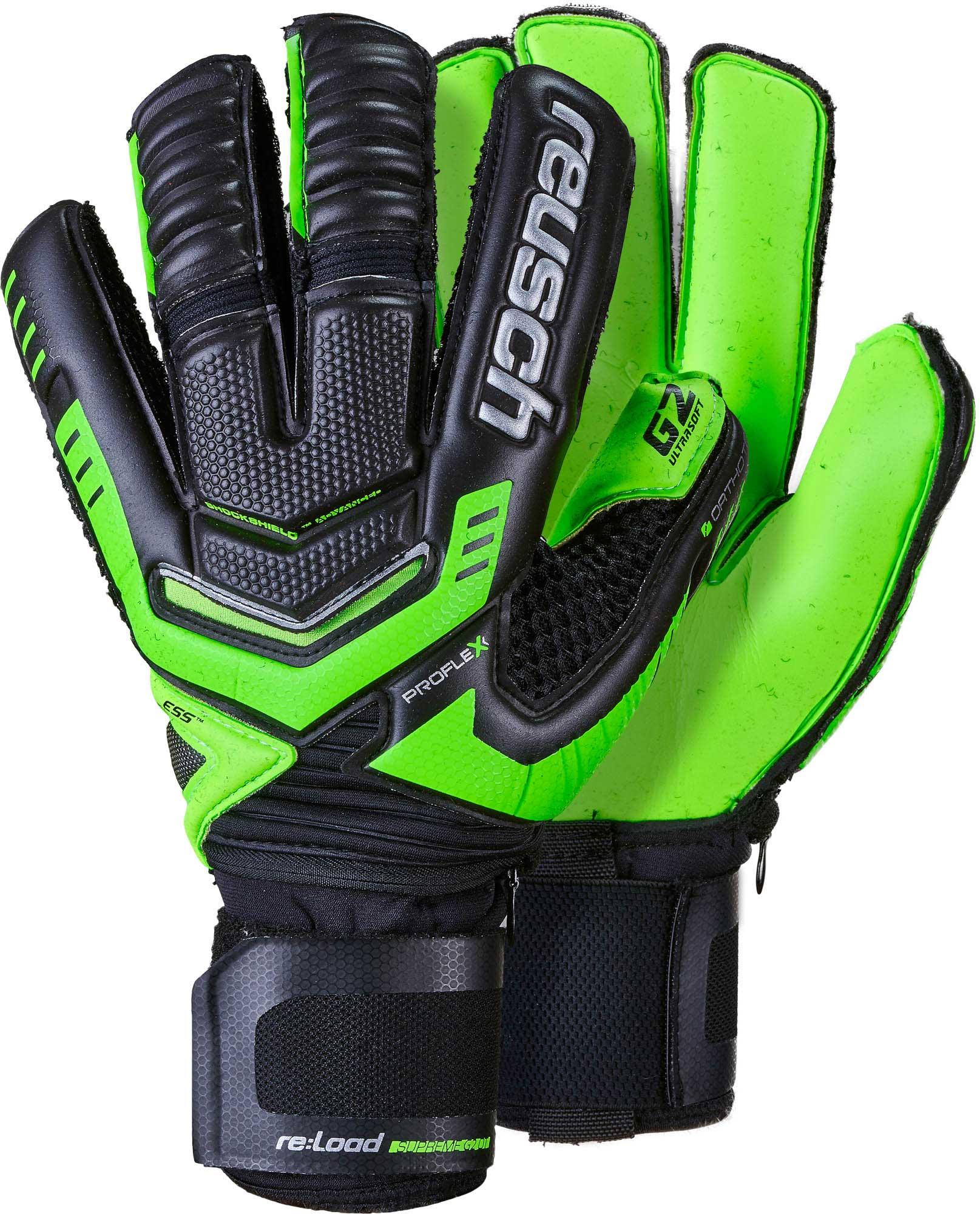 Reusch RE LOAD Supreme G2 Ortho-Tec Goalkeeper Gloves – Black Green da53bfe49