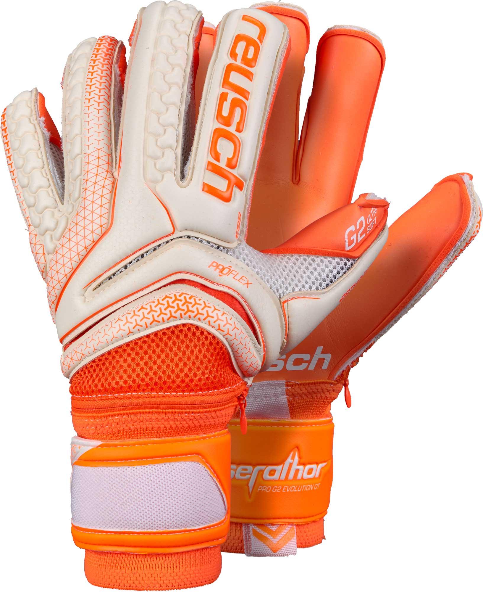 010fe4cf0 Reusch Serathor Pro G2 Evolution Ortho-Tec Goalkeeper Gloves – White &  Shocking Orange