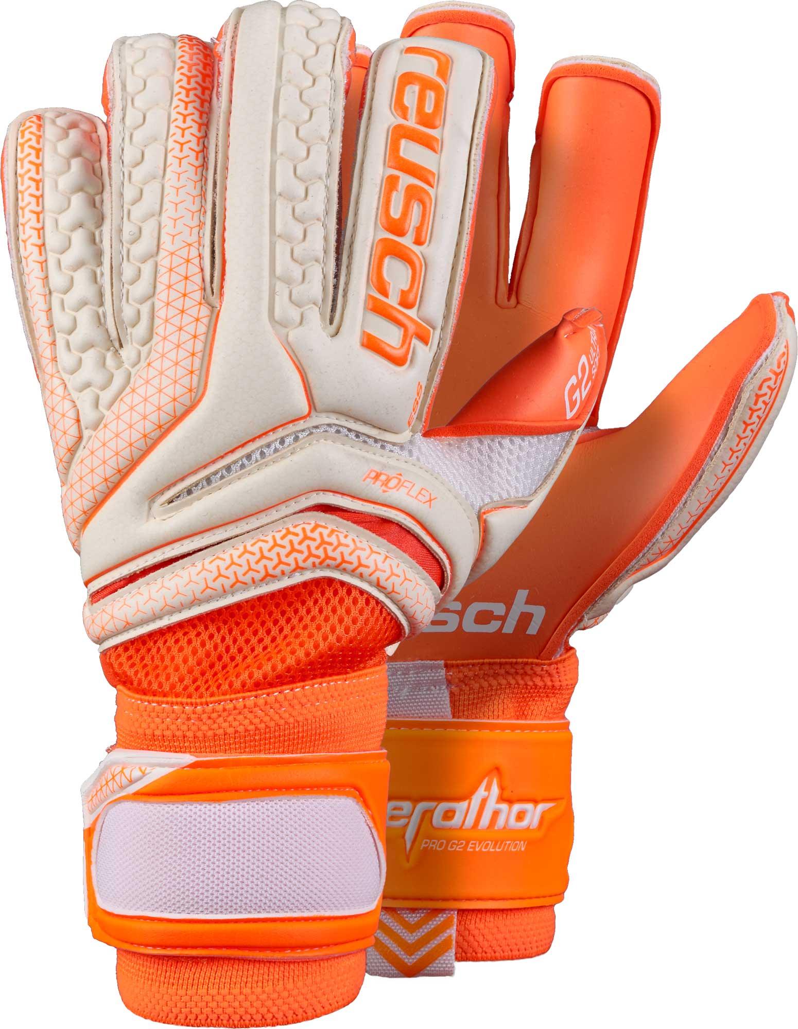 Reusch Serathor Pro G2 Evolution Cut Goalkeeper Gloves – White   Shocking  Orange 64f9bf25d9