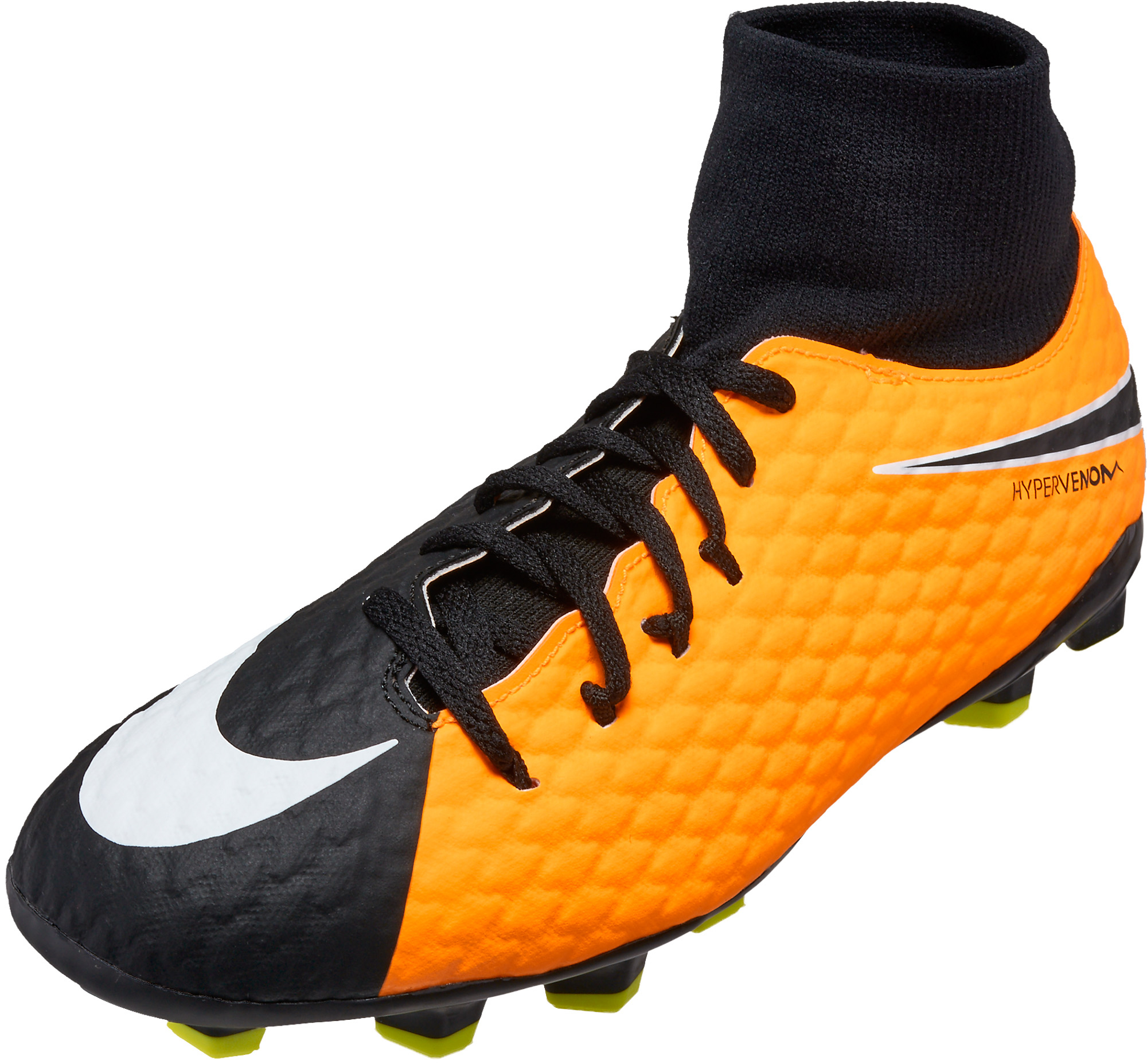 aaa3d4b0bdf Nike Kids Hypervenom Phelon III DF FG Soccer Cleats – Laser Orange   Black