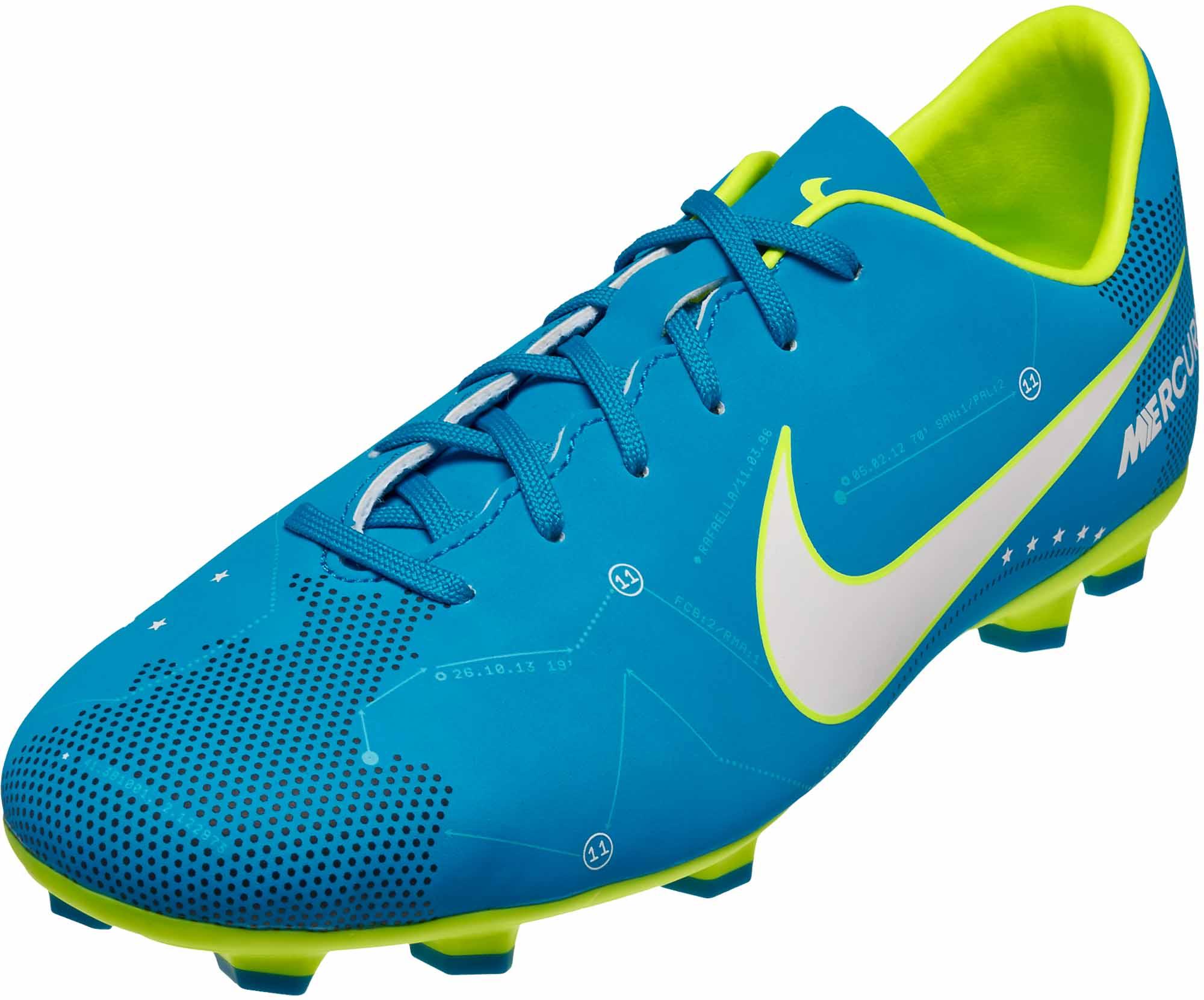 fd3b331eb45 Nike Kids Mercurial Victory VI FG Soccer Cleats – Neymar – Blue Orbit    White