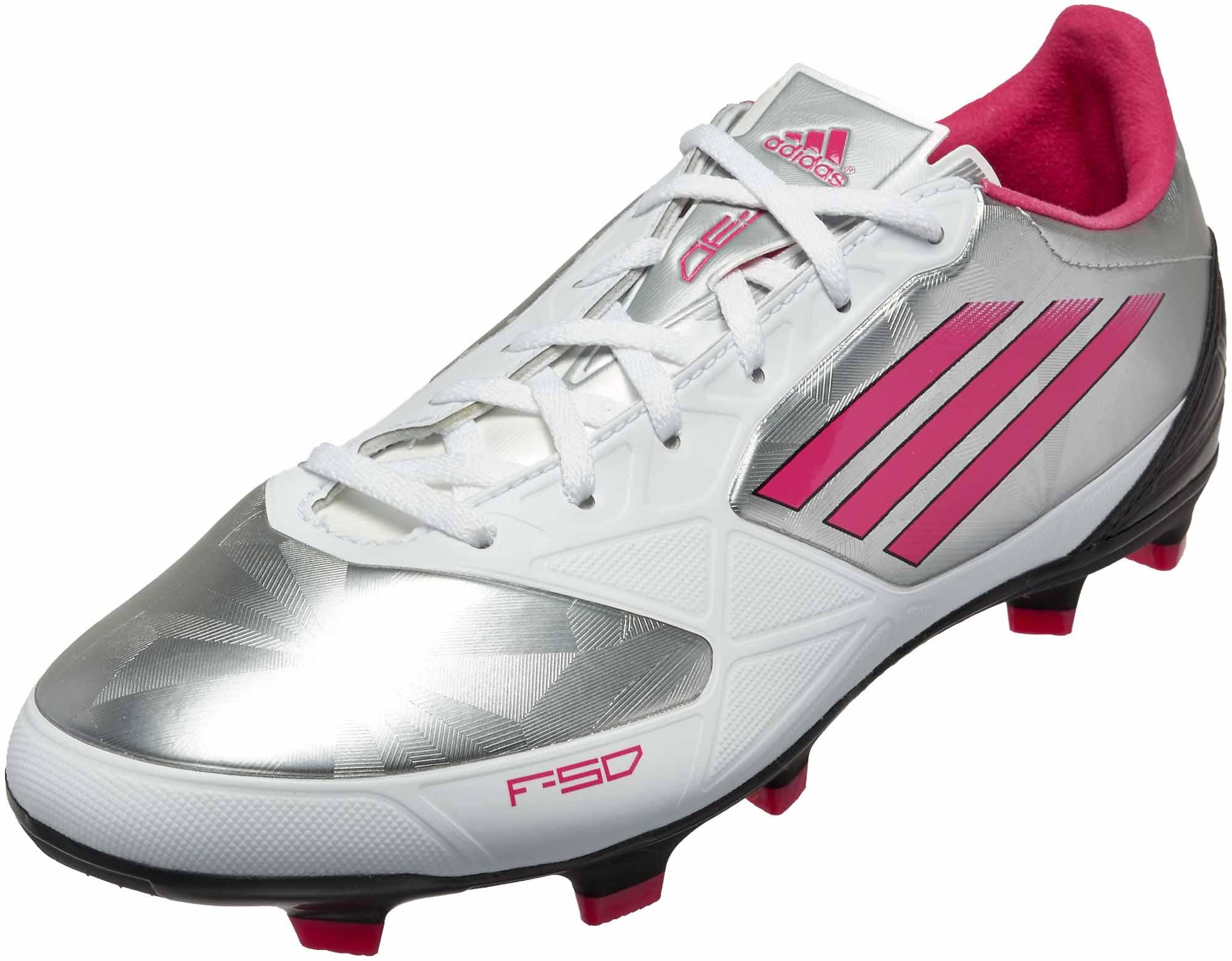 247425c3225 adidas Womens F30 TRX FG Metallic Silver with Bright Pink and Black ...