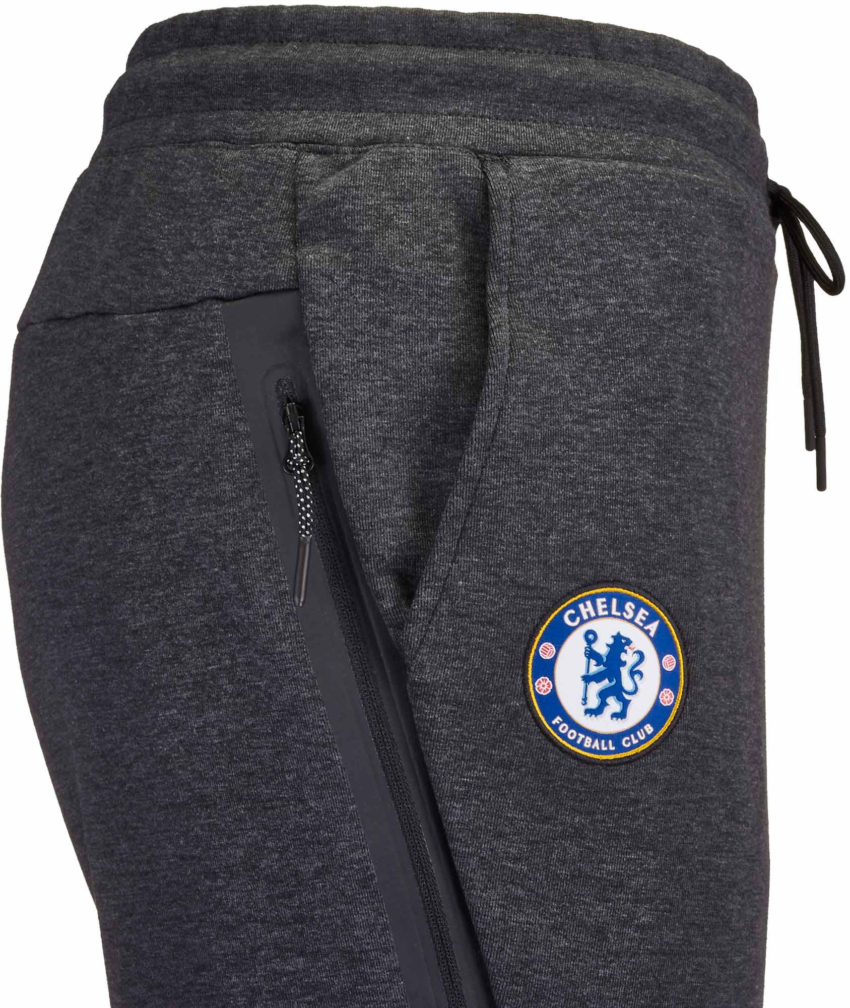 Nike Chelsea Tech Fleece Jogger Pants Black Heather Omega Blue Soccer Master
