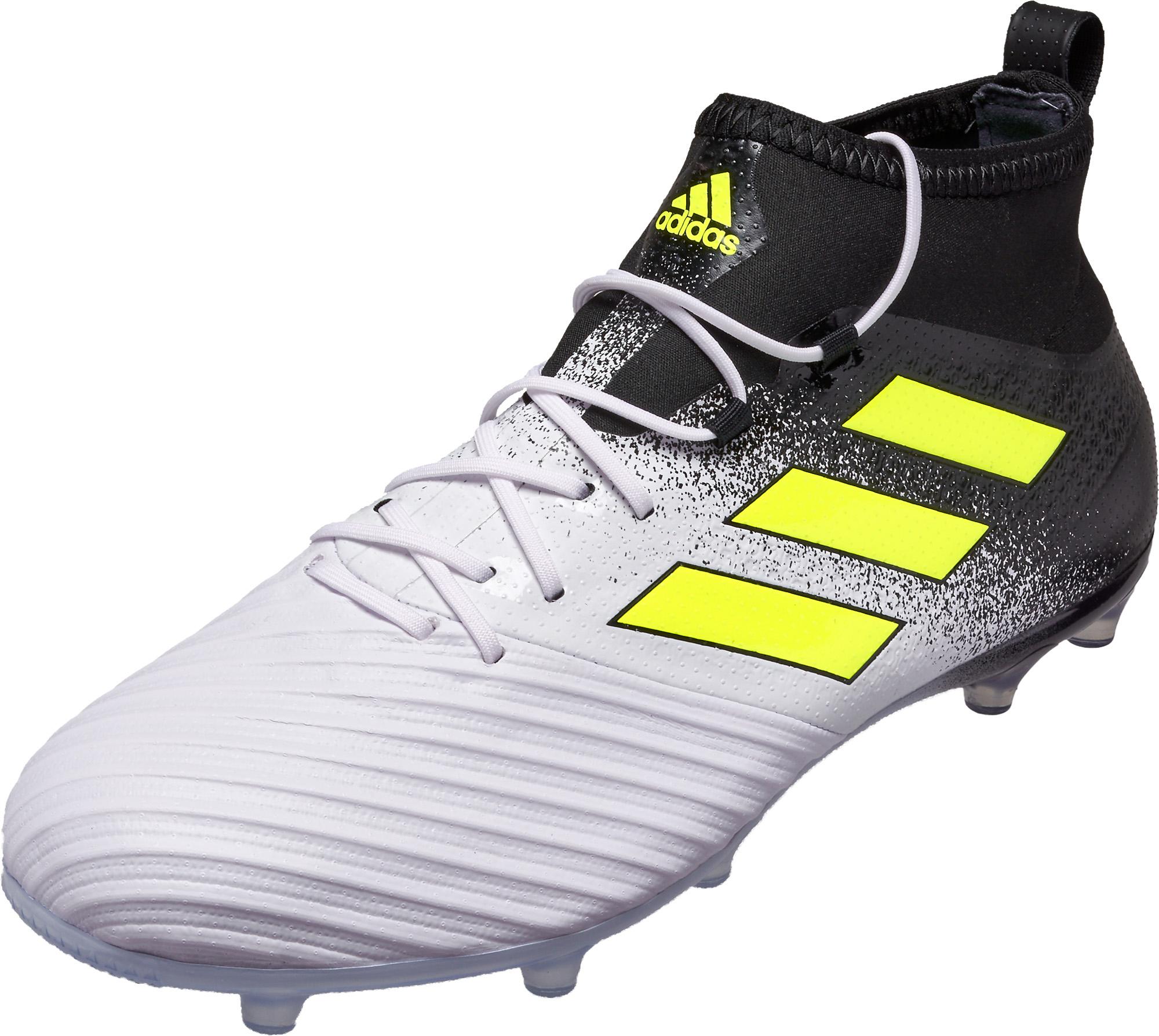 9efbf036da12 adidas ACE 17.2 FG Soccer Cleats - White   Solar Yellow - Soccer ...