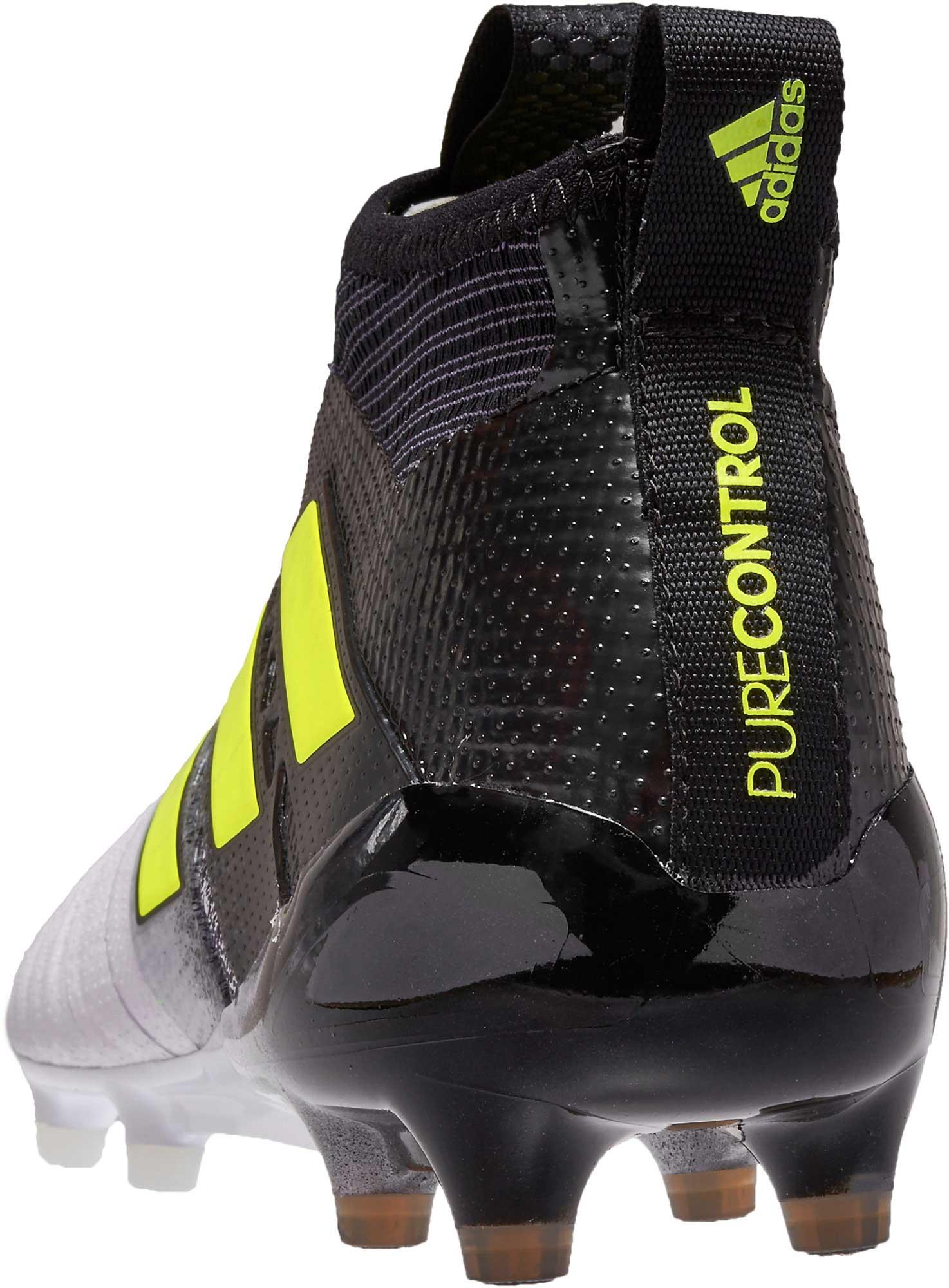 adidas ACE 17+ Purecontrol FG - White   Solar Yellow - Soccer Master f67f43f047ab8