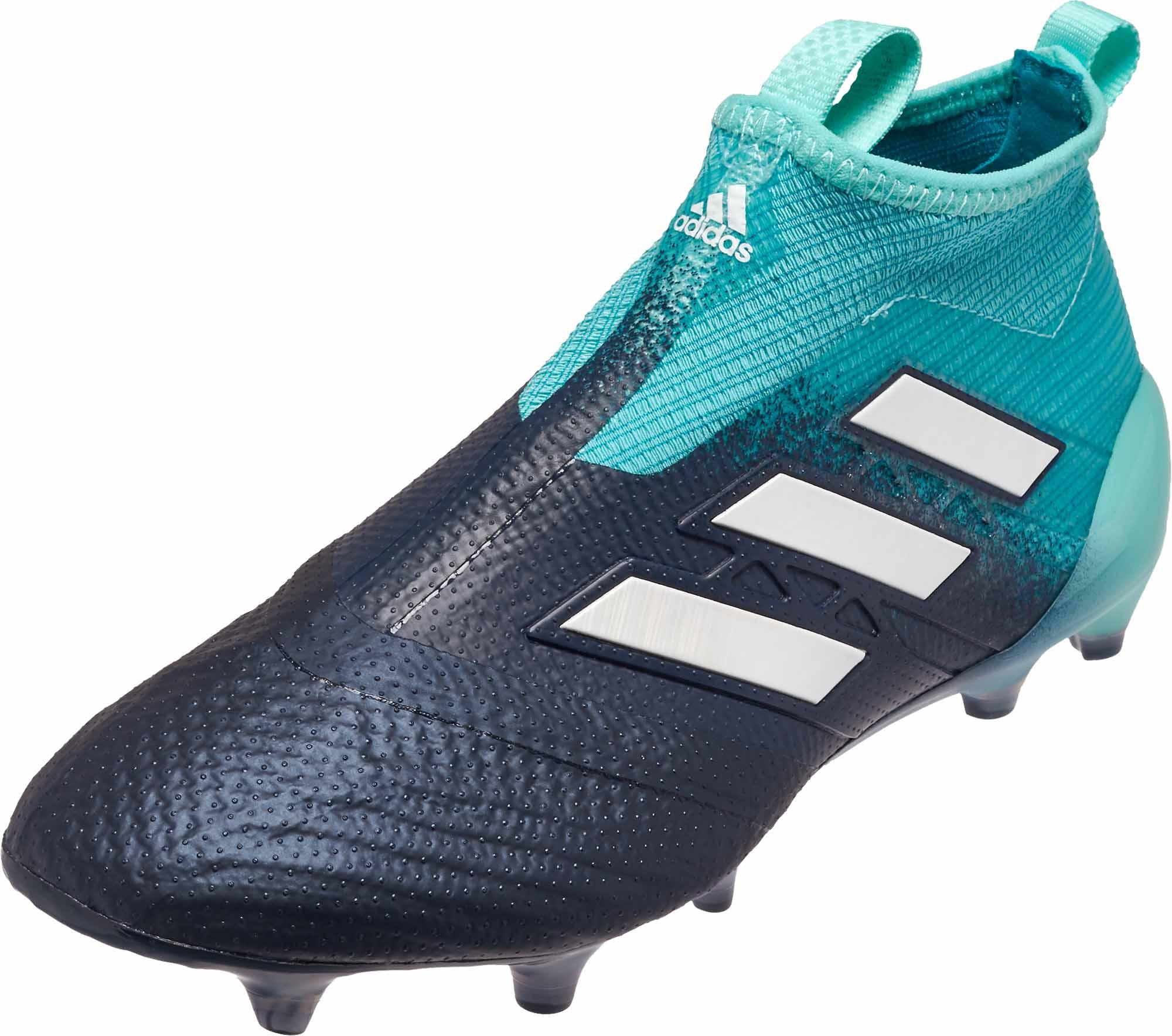 af9cc58db adidas Kids ACE 17+ Purecontrol FG Soccer Cleats – Energy Aqua   White