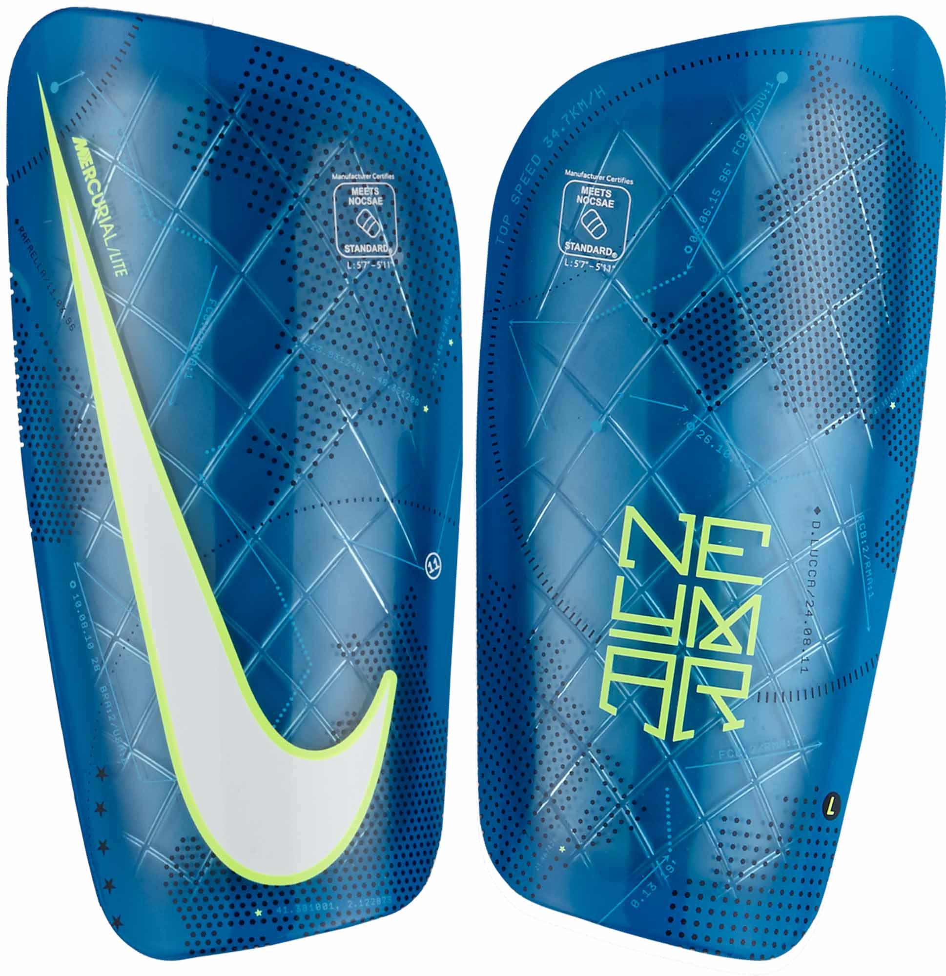 the latest 8aed4 06013 Nike Mercurial Lite Shin Guards - Neymar - Blue Orbit & Volt - Soccer ...