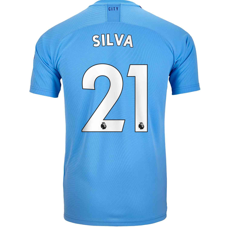 hot sale online fb55a db8ea 2019/20 Kids David Silva Manchester City Home Jersey
