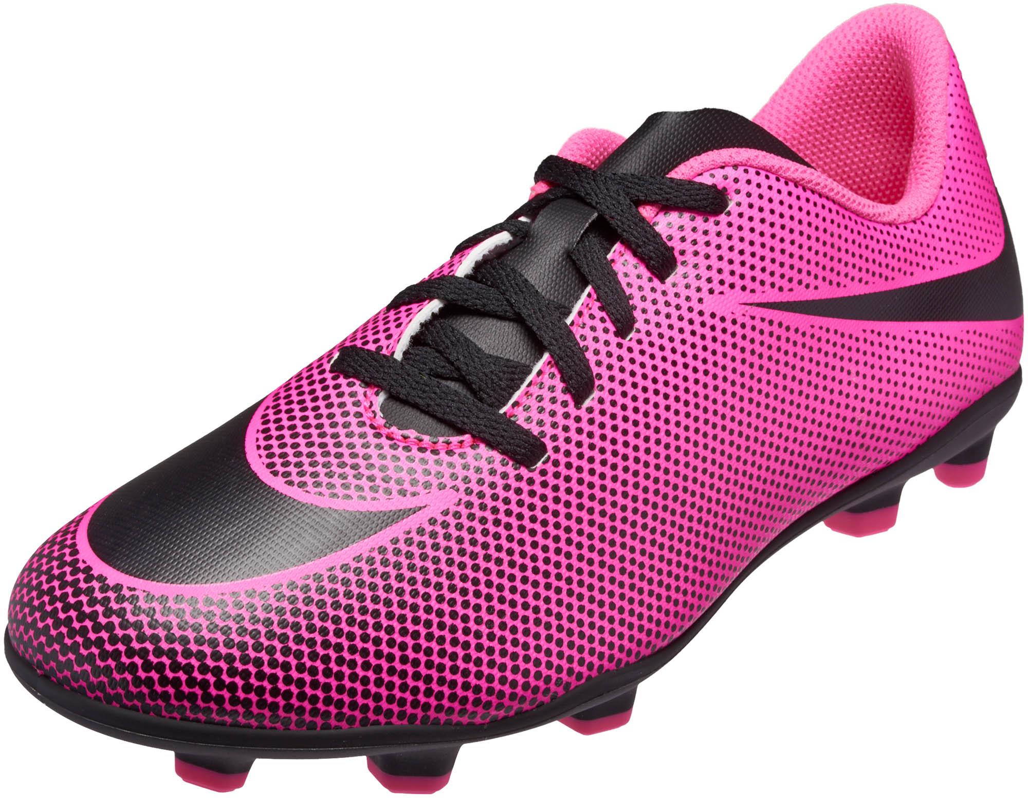 nike kids bravata ii fg soccer cleats pink blast amp black