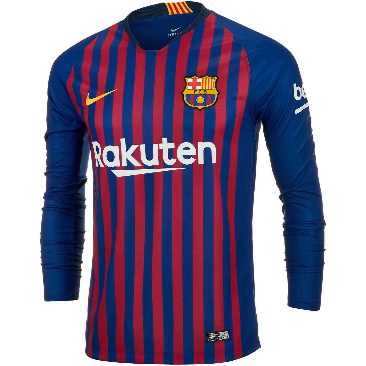low priced e269d c2d6f 2018/19 Nike Barcelona Home L/S Jersey