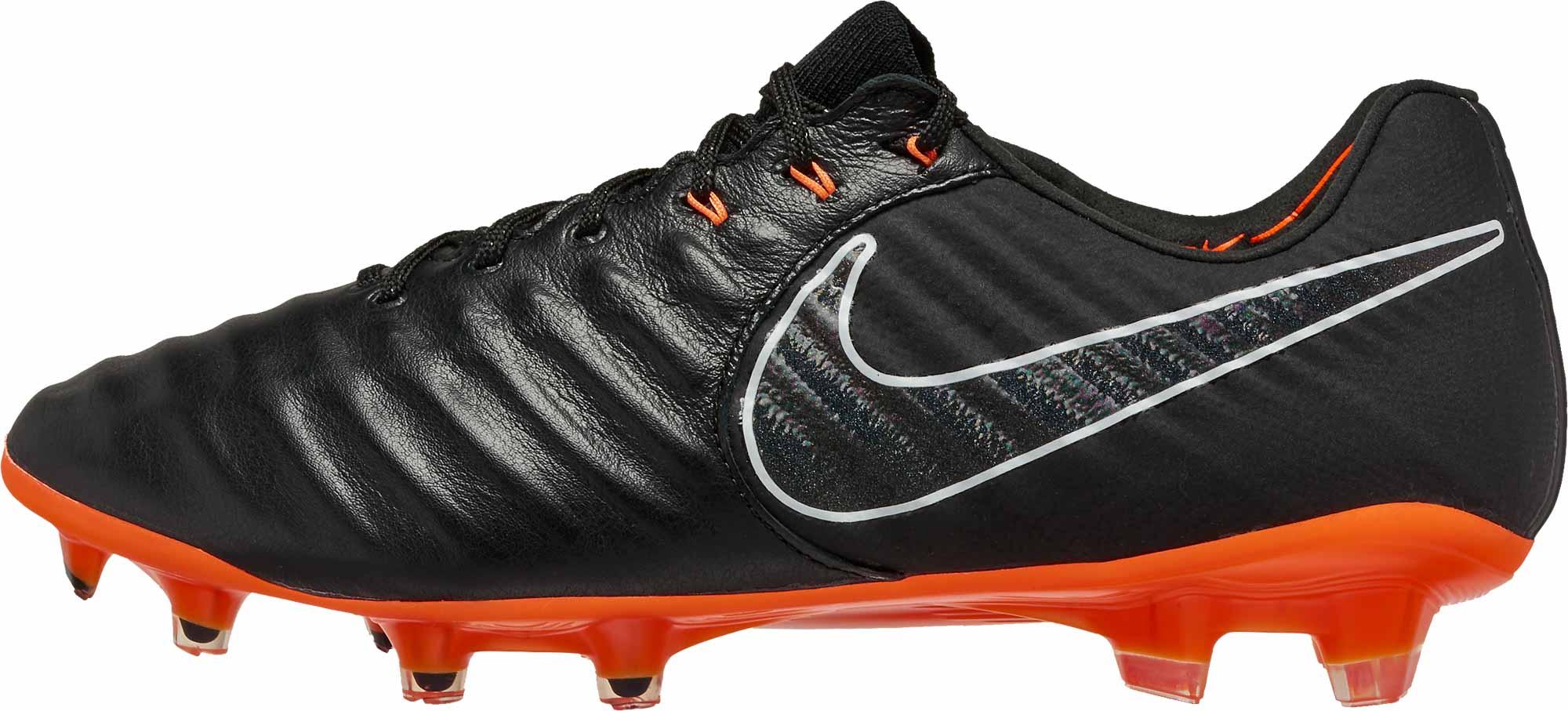 save off 0c8ae cc1d7 Nike Tiempo Legend 7 Elite FG - Black & Total Orange ...