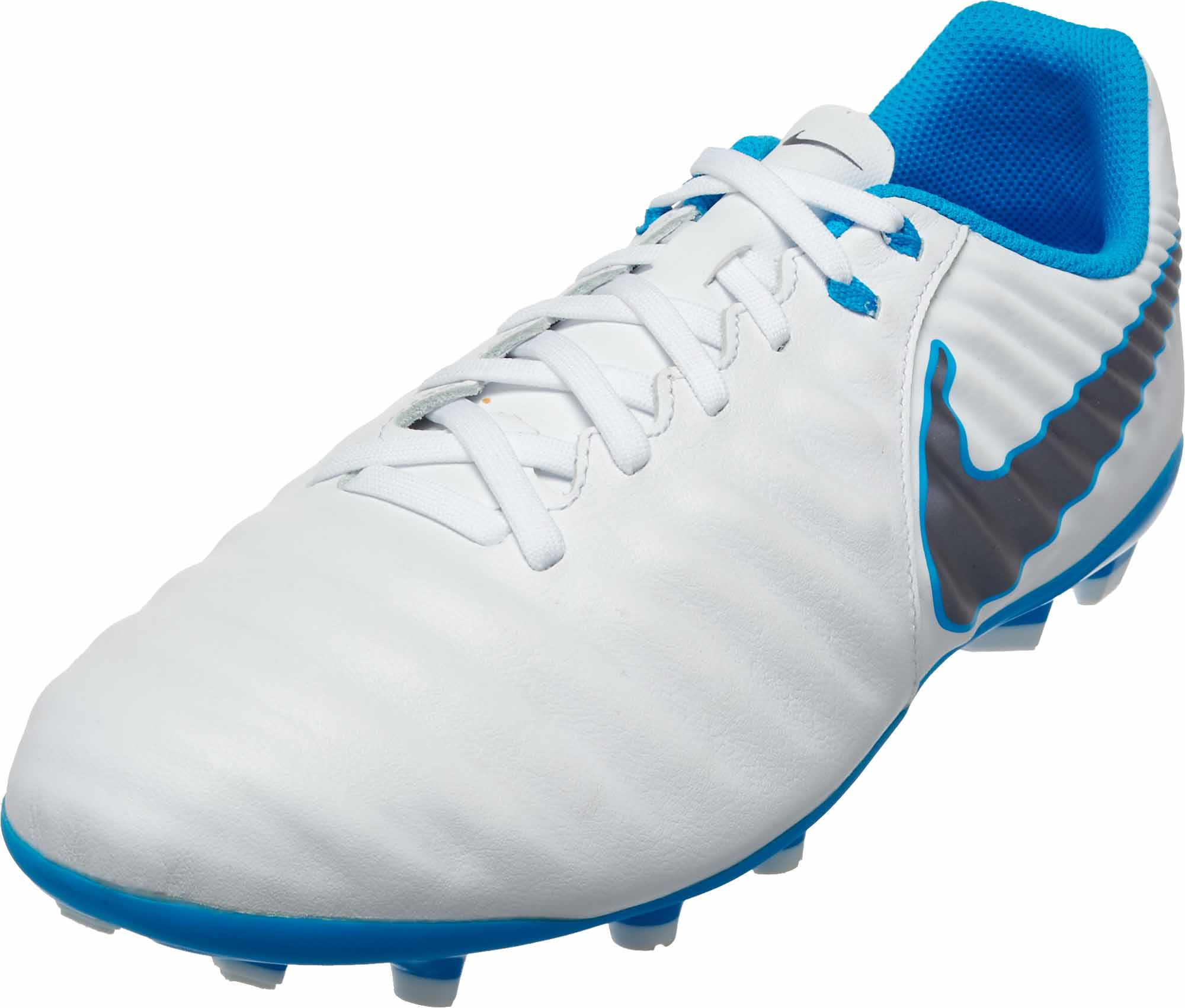 sale retailer a8559 7b69f Nike Tiempo Legend VII Academy FG - Youth - White/Metallic Cool Grey/Blue  Hero