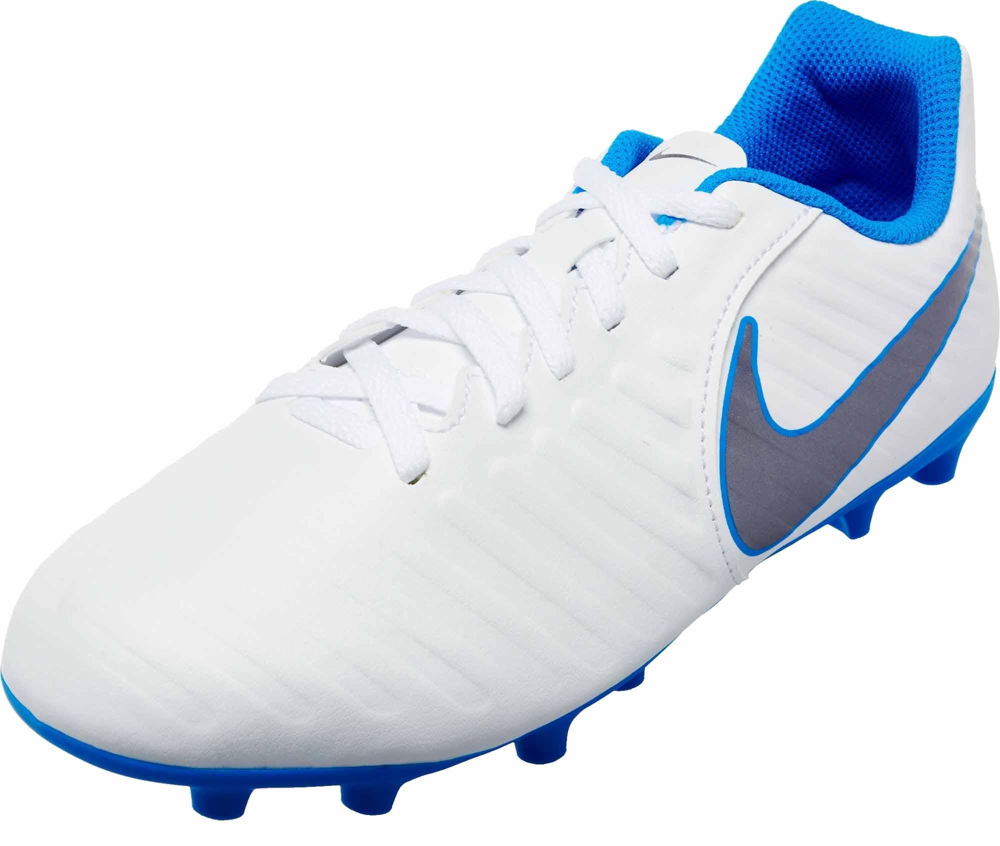 another chance ba0b8 46ffb Nike Tiempo Legend 7 Club FG - Youth - White/Metallic Cool Grey/Blue Hero