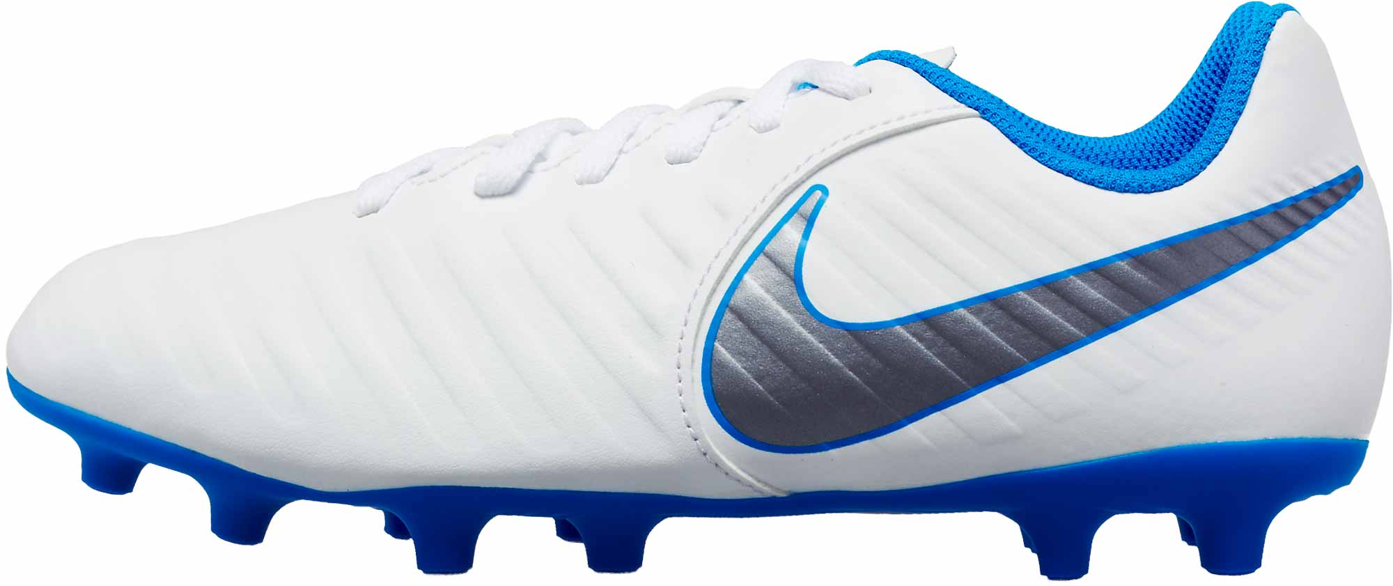 on sale 35471 5696c Nike Tiempo Legend 7 Club FG - Youth - White Metallic Cool Grey Blue ...