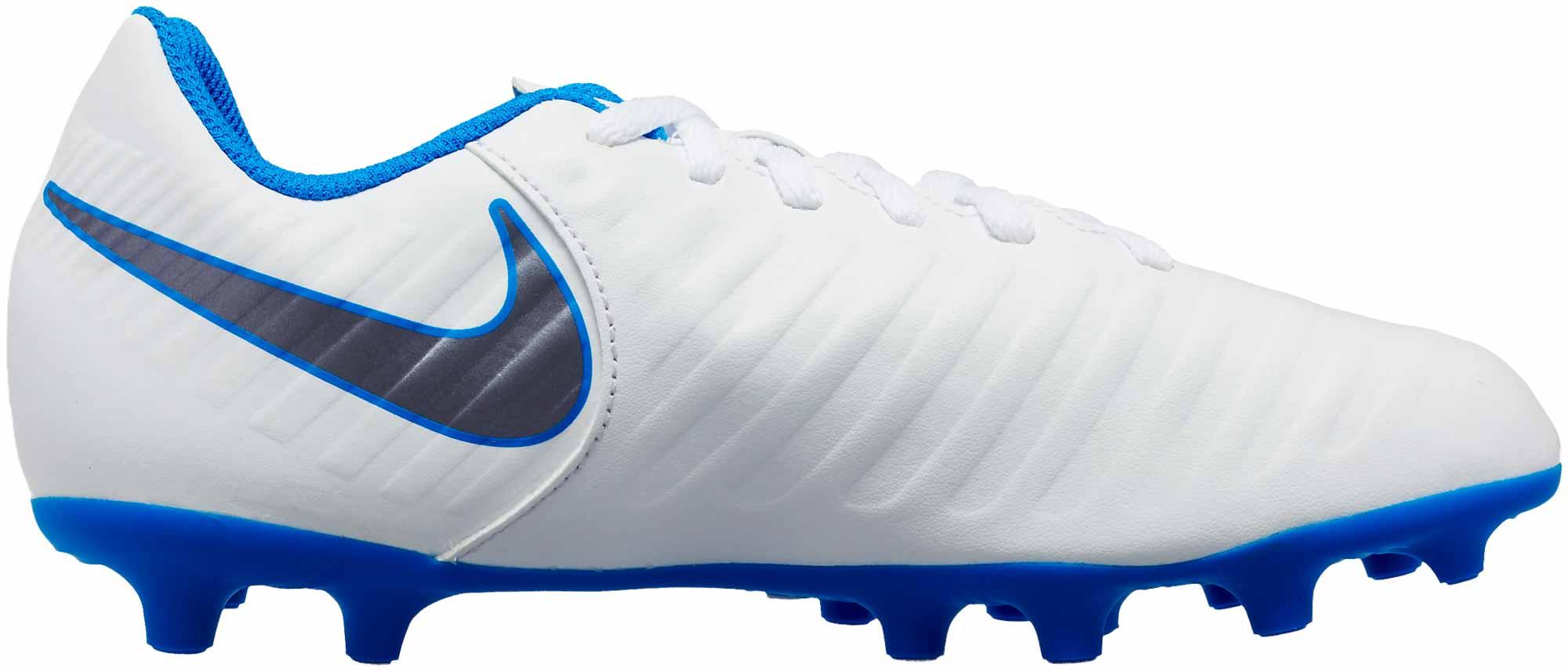 d83813f0c Nike Tiempo Legend 7 Club FG - Youth - White/Metallic Cool Grey/Blue ...