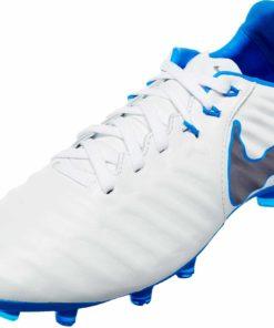 03adf9308e6e Kids Nike Tiempo Legend VII Elite FG - White/Metallic Cool Grey/Blue Hero -  Soccer Master