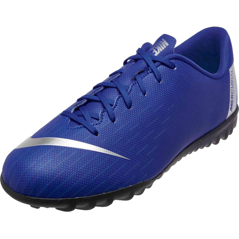 5a5e5259490 Kids Nike Mercurial VaporX 12 Academy TF – Racer Blue Metallic Silver Black  Volt