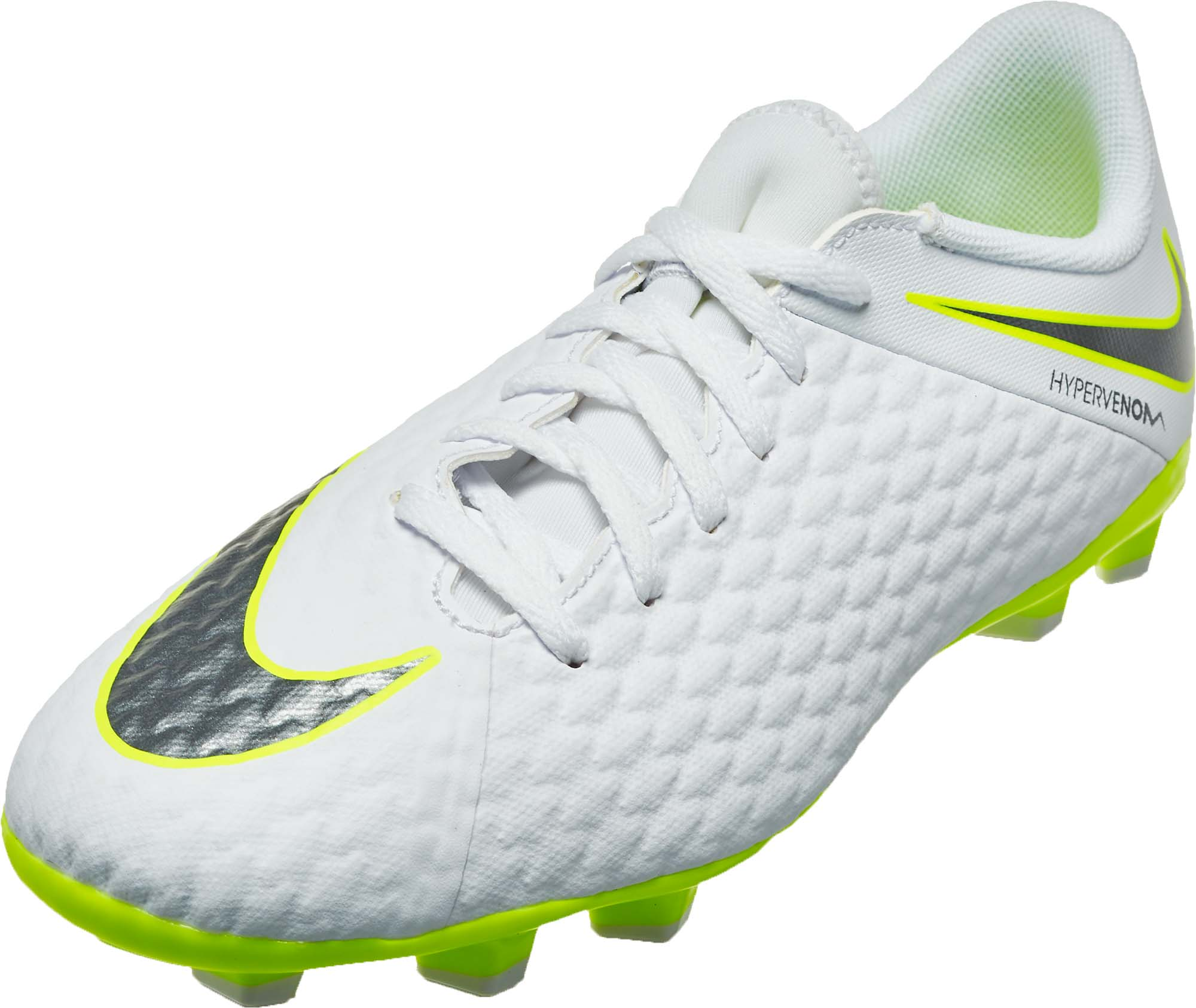 reputable site 3abac d834c Nike Hypervenom Phantom 3 Academy FG - Youth - White/Metallic Cool Grey/Volt