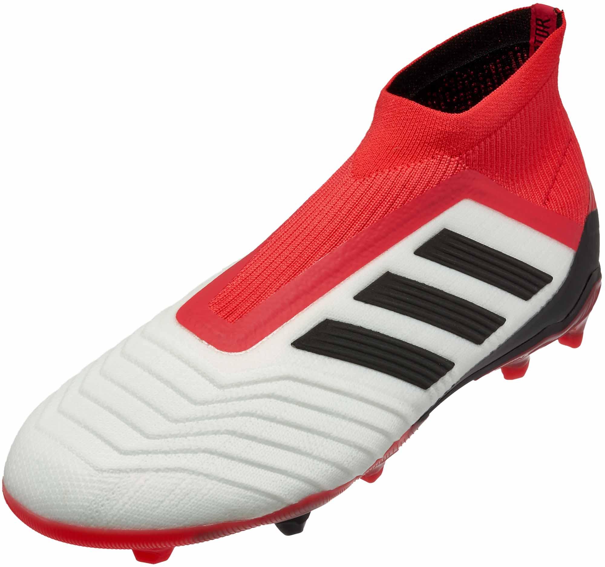 309e56a65a88 adidas Kids Predator 18+ FG - White   Real Coral - Soccer Master