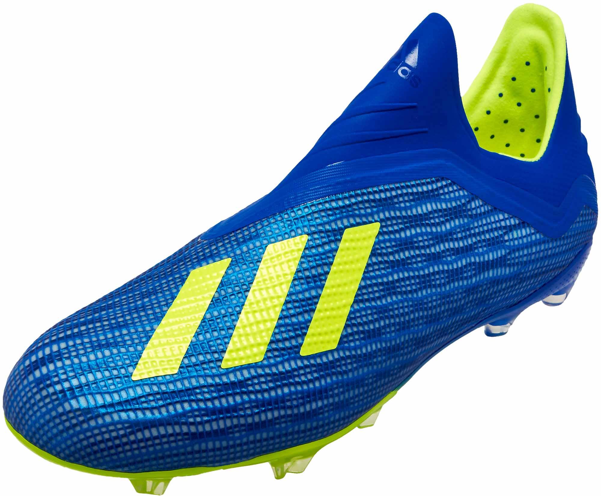 744fdb144fc6 adidas X 18 FG - Youth - Football Blue Solar Yellow Black - Soccer ...