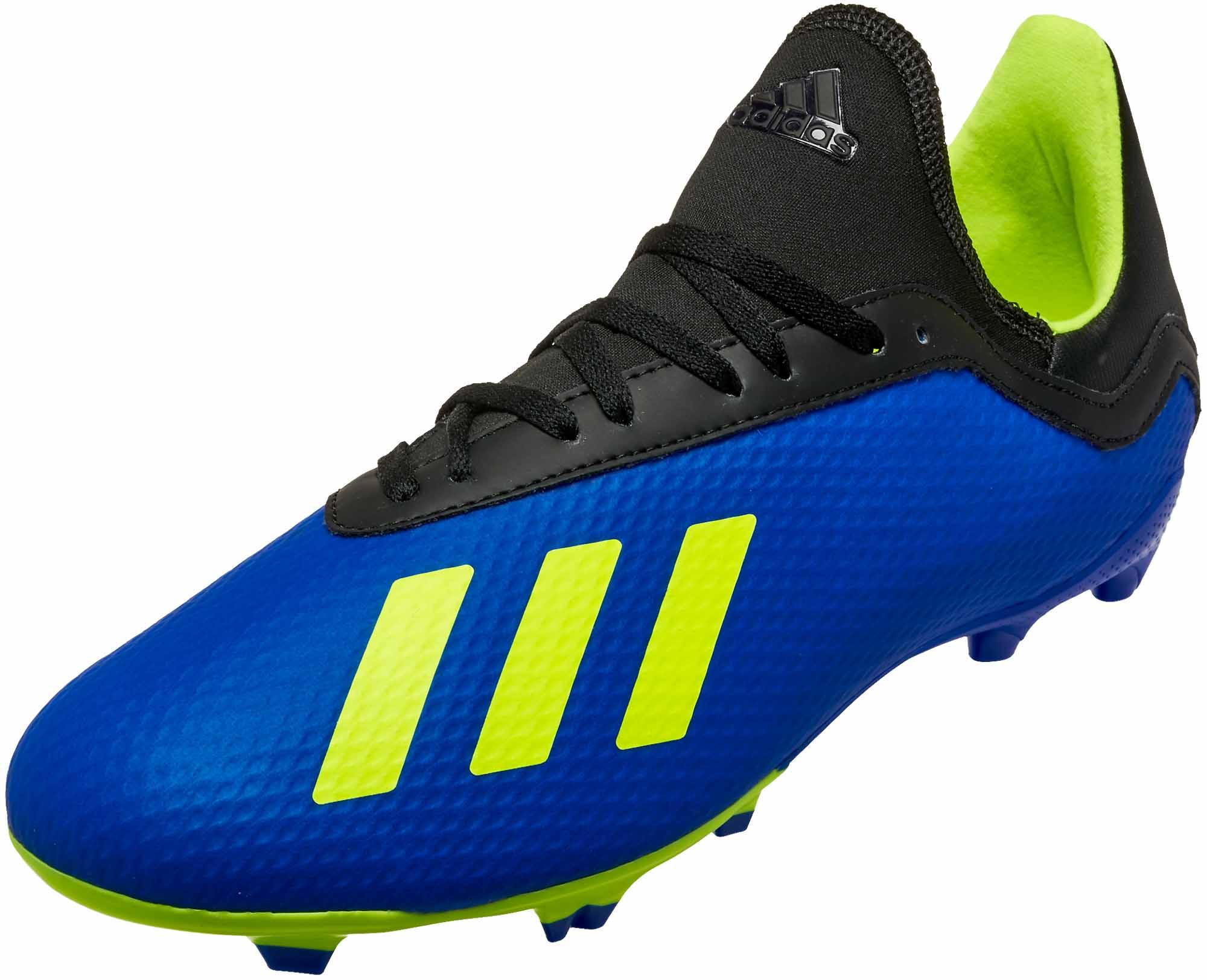 4a7c0c2e3358 Kids adidas X 18.3 FG - Football Blue/Solar Yellow/Black - Soccer Master