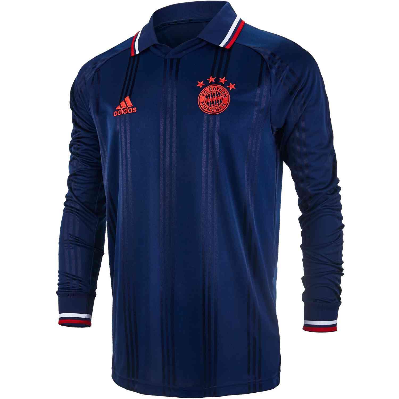 adidas Bayern Munich L/S Retro Icon Jersey - Collegiate Navy/FCB ...
