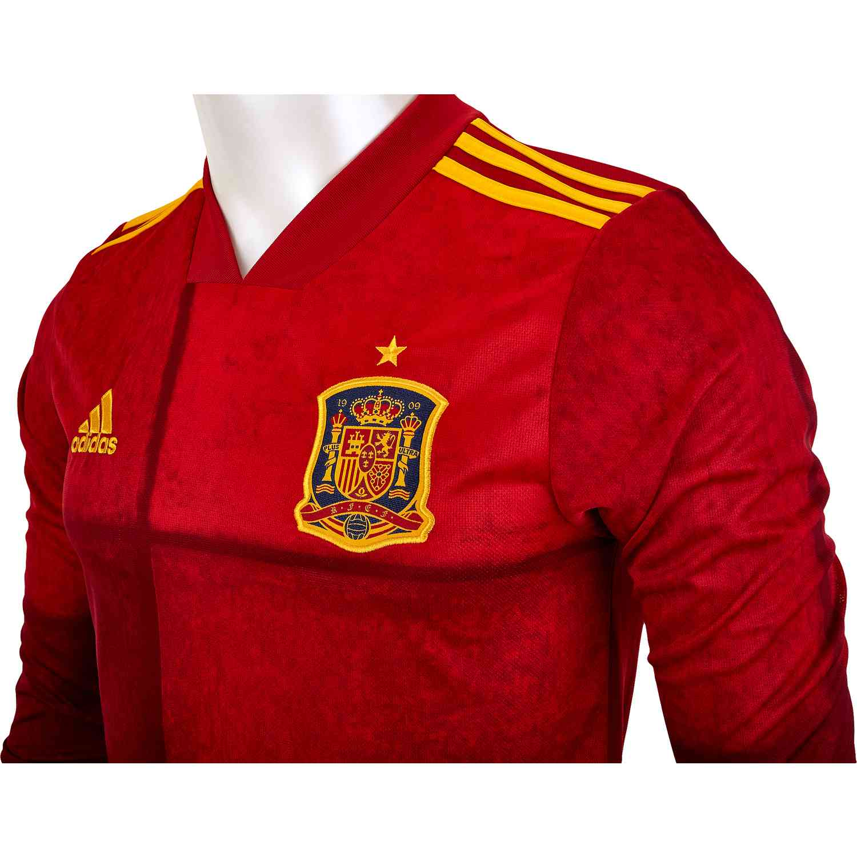 2020 adidas Spain Long Sleeve Home Jersey