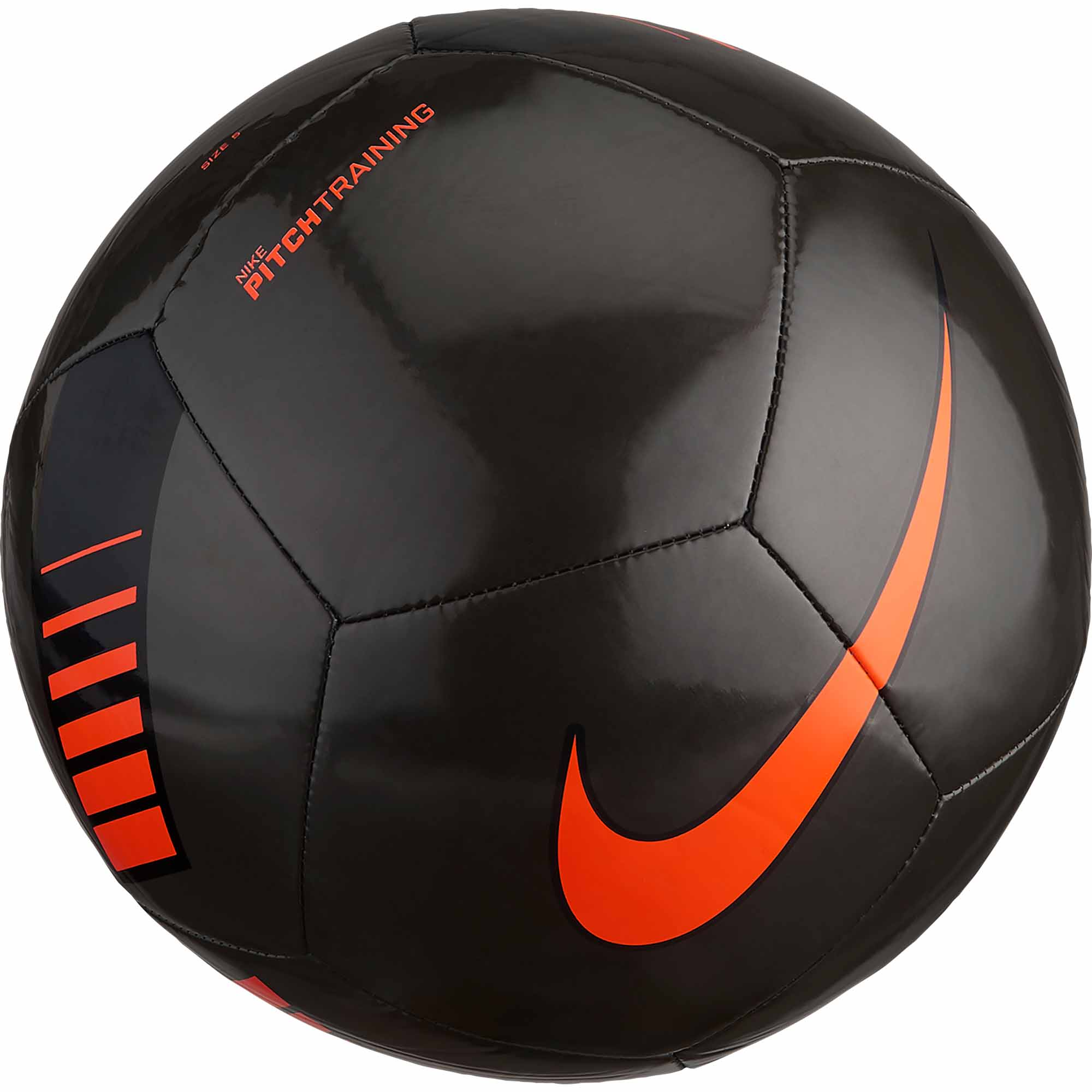 nike pitch training soccer ball metallic black total orange
